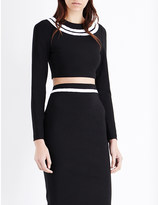 Thierry Mugler Striped stretch-knit cropped top