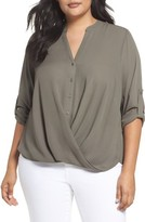 London Times Plus Size Women's Faux Wrap Blouse