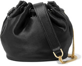 Diane von Furstenberg Love Power Mini Leather-trimmed Satin Bucket Bag - Black