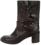 Casadei Patent Leather Mid-Calf Boots