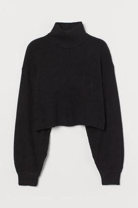 H&M Cropped Turtleneck Sweater - Black