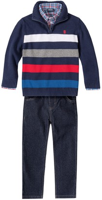 Izod Boys 4-7 Quarter-Zip Sweater, Pants & Shirt Set