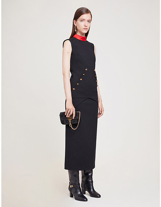 Givenchy Black and Red High-Neck Buttoned Wool-Blend Midi Dress, Size: 6