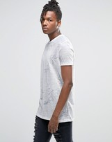 Asos Longline T-Shirt With Subtle Floral Print In Linen Look