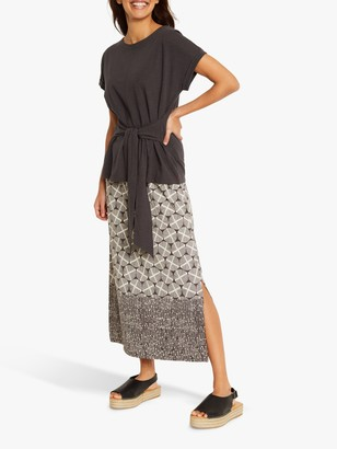 White Stuff Warli Tribal Print Maxi Skirt, Charcoal