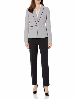 Le Suit LeSuit Women's Shawl Collar Mini Houndstooth Slim Pant Suit