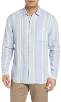 Tommy Bahama Men's Big & Tall Selgago Stripe Linen Sport Shirt