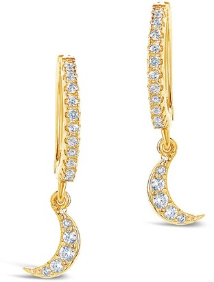 Sterling Forever 14K Yellow Gold Vermeil Pave CZ Dangling Moon Huggie Hoop Earrings