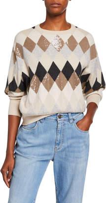 Brunello Cucinelli Wool/Cashmere Argyle Crewneck Sweater with Paillettes