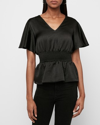 Express Textured Satin Smocked Peplum Top