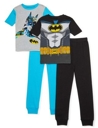 Batman Boys Exclusive 4-10 Cotton Tight Fit Pajamas, 4-Piece Set