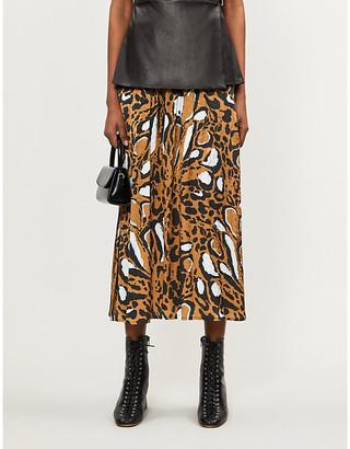 Gestuz Lori leopard-print satin midi skirt