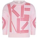 Kenzo KidsGirls Pink Logo Print Cotton Sweater