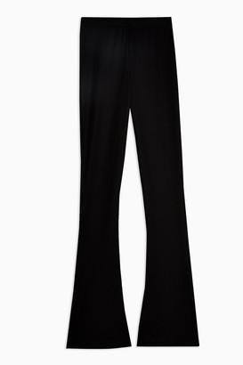 Topshop Black Skinny Ribbed Flare Pants