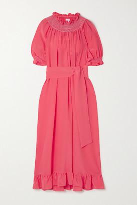 Loretta Caponi Belted Smocked Silk Crepe De Chine Nightdress - Pink