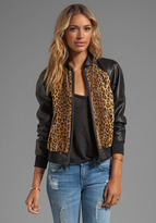 Milly Cheetah Faux Fur Leather Sleeve Bomber Jacket