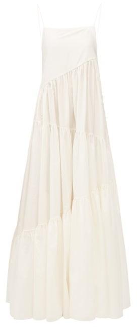 Matteau The Asymmetric Tiered Cotton-blend Maxi Dress - Ivory