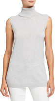 Lafayette 148 New York Plus Size Cashmere Sleeveless Turtleneck Sweater