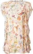 RED Valentino birds print shift dress - women - Silk/Cotton - 44