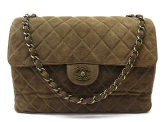 Chanel Timeless/Classique Khaki Suede Handbags
