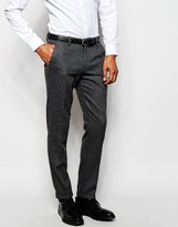 Selected Flannel Wool Suit Pants in Skinny Fit