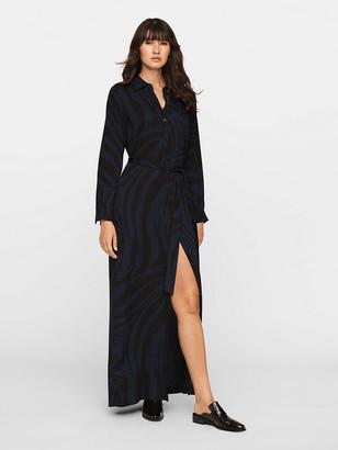 Diane von Furstenberg Amina Crepe Maxi Shirt Dress