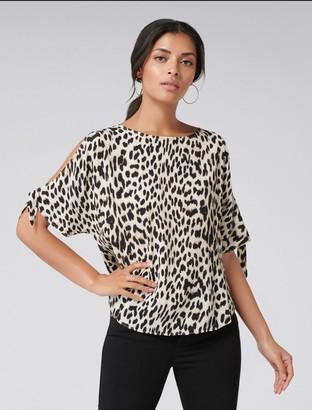 Forever New Belle Cold Shoulder Top - Natural Leopard - 4