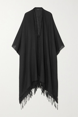 Saint Laurent Rope-trimmed Fringed Wool-gauze Cape - Black