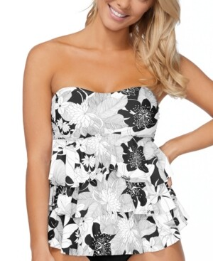 Island Escape Swimwear Aloha Bloom Printed Tiered Tankini Top, Created for Macy's Women's Swimsuit