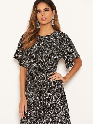 AX Paris Spotty Knot Front Midi Dress - Black