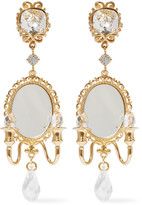 Dolce & Gabbana Gold-plated, Swarovski Crystal And Mirror Clip Earrings - one size