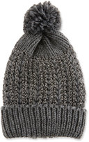 Neiman Marcus Metallic Woven Knit Pompom Hat, Charcoal/Silver