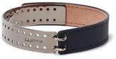 Lanvin Leather Gunmetal-Tone Bracelet