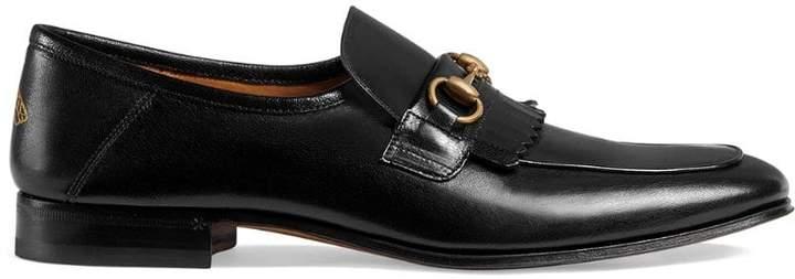 Gucci Leather fringe Horsebit loafer