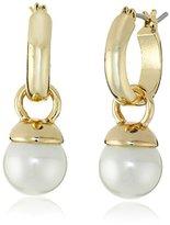 Anne Klein Gold Tone and Pearl Drop Off Hoop Earrings