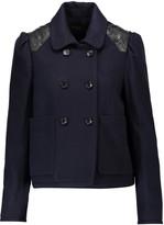 Maje Leather-trimmed wool-blend jacket