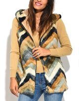 Orange & Black Chevron Hooded Faux Fur Vest - Plus Too