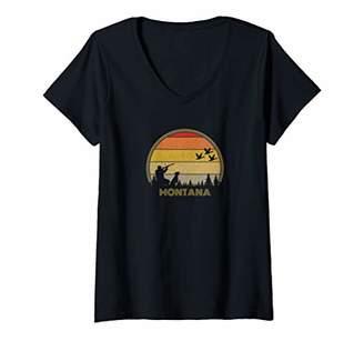 Hunter Womens Montana Pheasant Bird Hunting Gift Sunset Retro 70s V-Neck T-Shirt