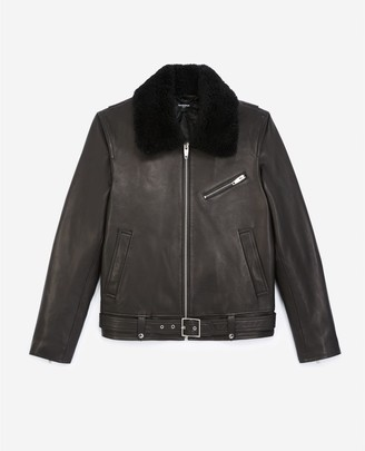 The Kooples Black leather jacket with sheepskin collar