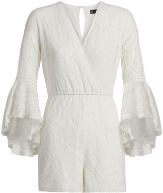New York & Co. Crochet Bell-Sleeve Romper