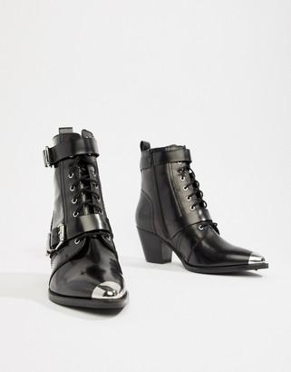 Asos Design DESIGN Rhythmic premium leather western lace up boots