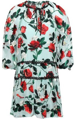 Alice + Olivia Lace-trimmed Gathered Fil Coupe Chiffon Mini Dress