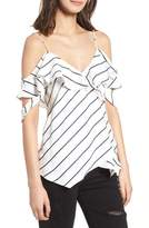 KENDALL + KYLIE Pinstripe Ruffle Faux Wrap Camisole