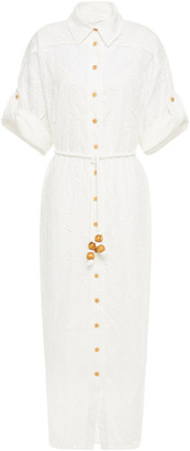 Zimmermann Belted Broderie Anglaise Cotton Midi Shirt Dress