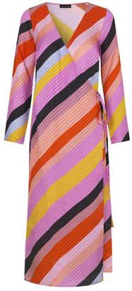 Stine Goya PAISLEY SILK WRAP DRESS PARALLELS - silk   pink   extra small - Pink/Pink