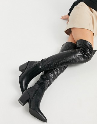 Truffle Collection faux leather thigh high western over the knee boots in black
