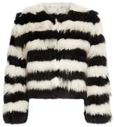 Alice + Olivia Fawn Striped Cropped Fur Jacket