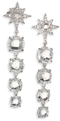 Anzie Aztec Starburst White Topaz, White Sapphire & Sterling Silver Drop Earrings