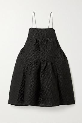 Cecilie Bahnsen Elin Oversized Gathered Linen-blend Cloque Mini Dress - Black