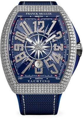 Franck Muller Vanguard Yachting White Gold, Diamond, Alligator & Rubber Strap Watch